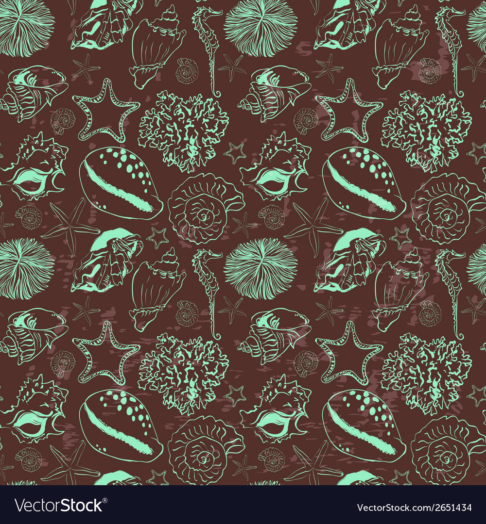 Seamless pattern with seashells vector | Price: 1 Credit (USD $1)