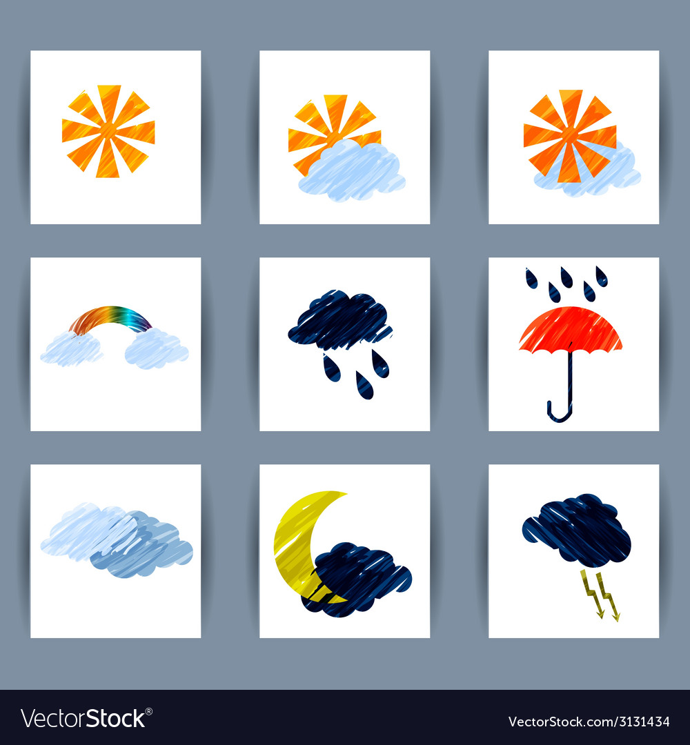 Set of weather icons sun moon clouds lightning vector | Price: 1 Credit (USD $1)