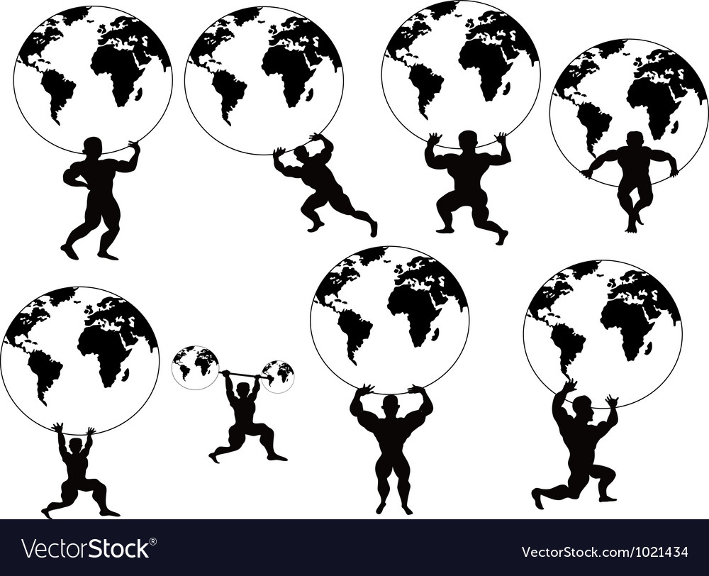 Strong man lifting earth vector | Price: 1 Credit (USD $1)