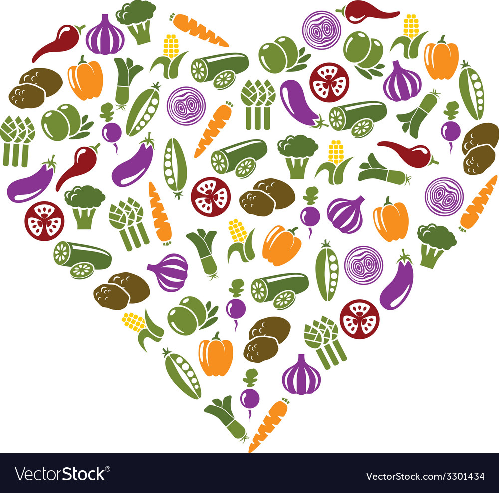 Vegetable icons in heart vector | Price: 1 Credit (USD $1)
