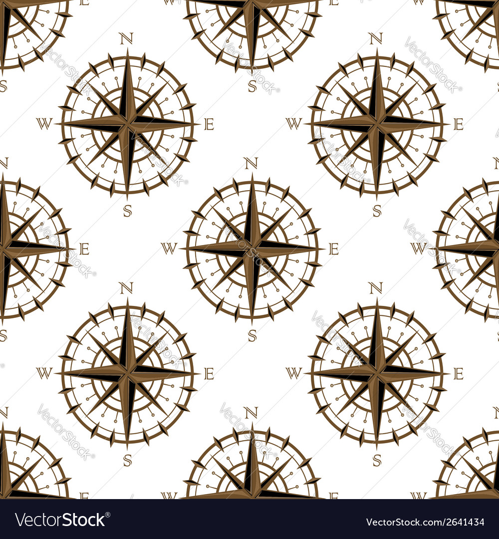 Vintage compass seamless pattern vector | Price: 1 Credit (USD $1)