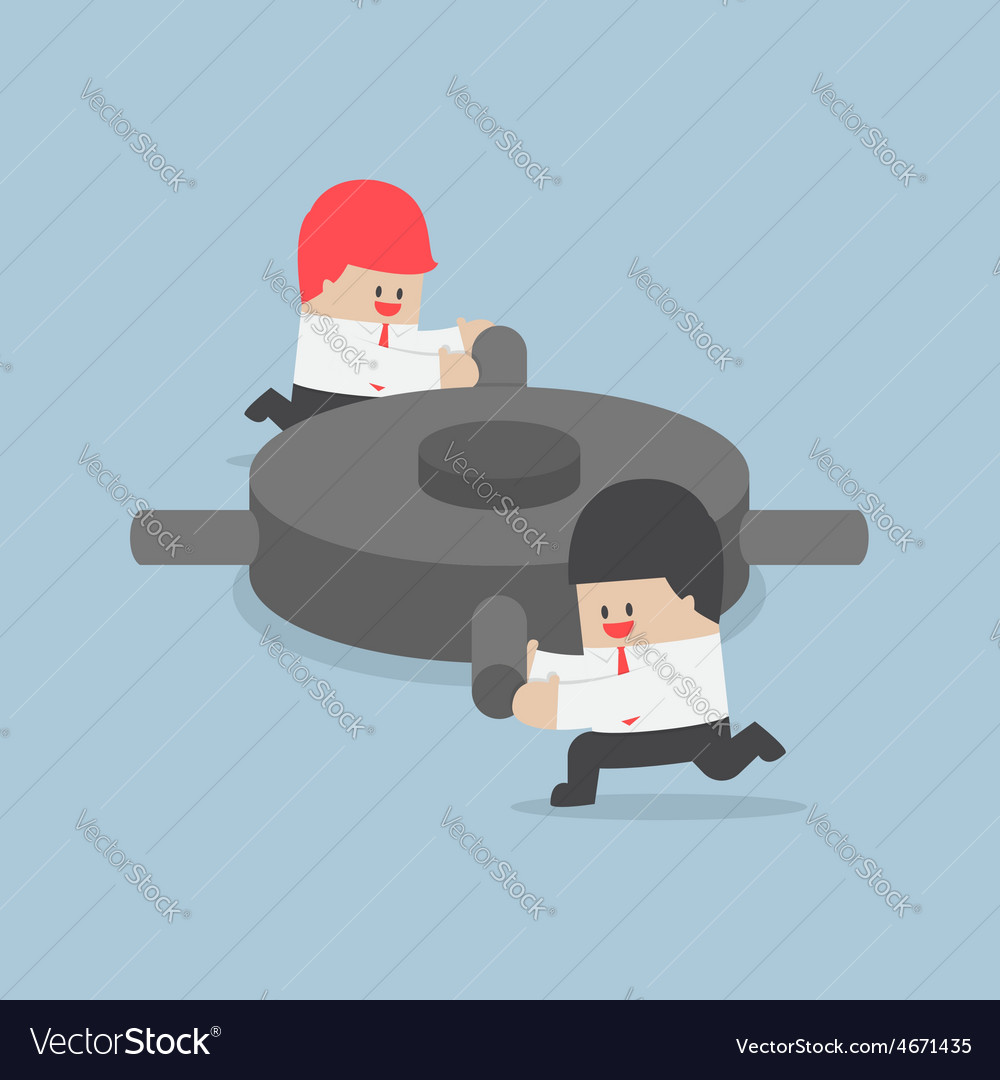 Businessman helping each other to push the gear vector | Price: 1 Credit (USD $1)