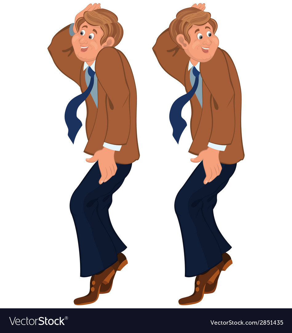Happy cartoon man standing on tiptoe in brown vector | Price: 1 Credit (USD $1)