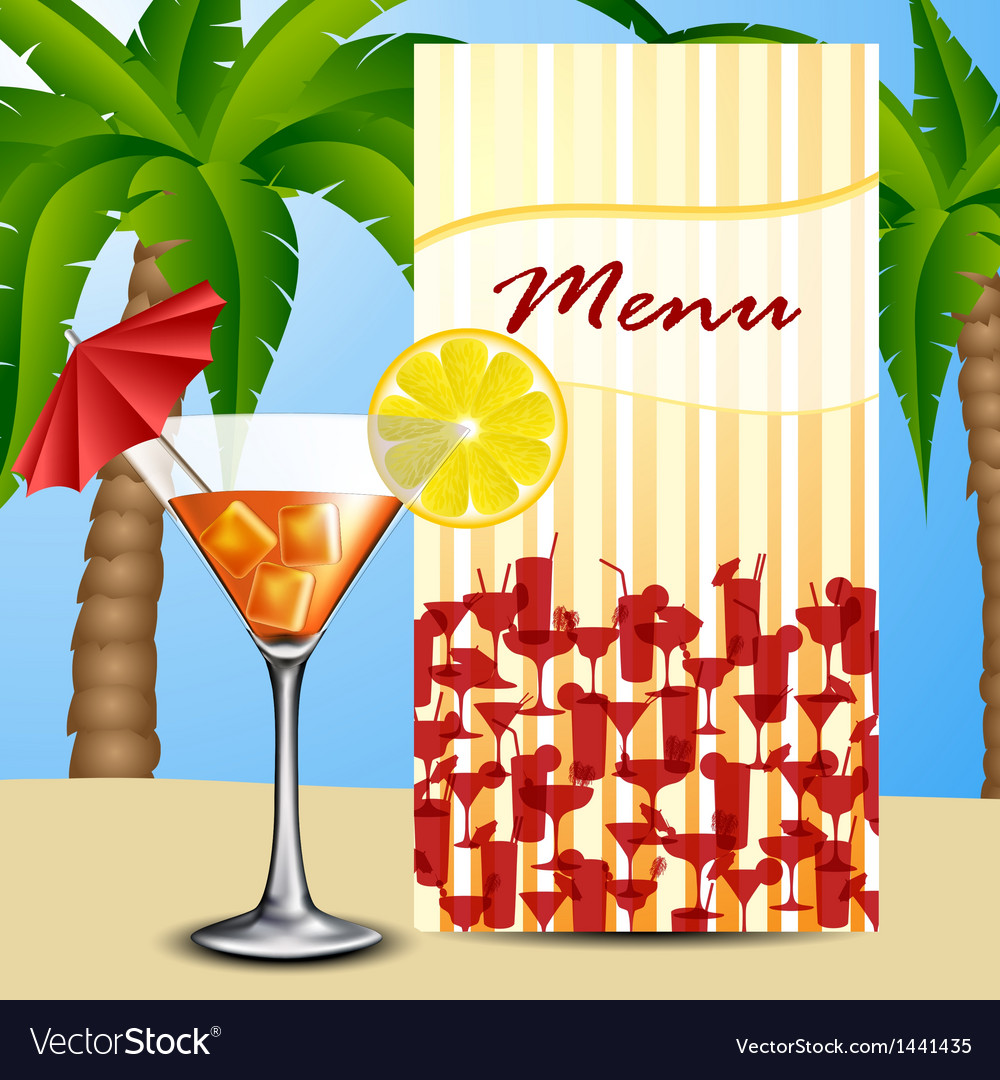 Menu with cocktail vector | Price: 1 Credit (USD $1)