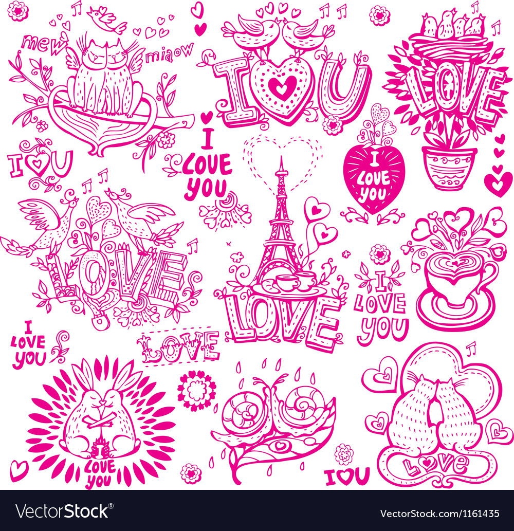 Set of hand drawn love sketchy vector | Price: 1 Credit (USD $1)