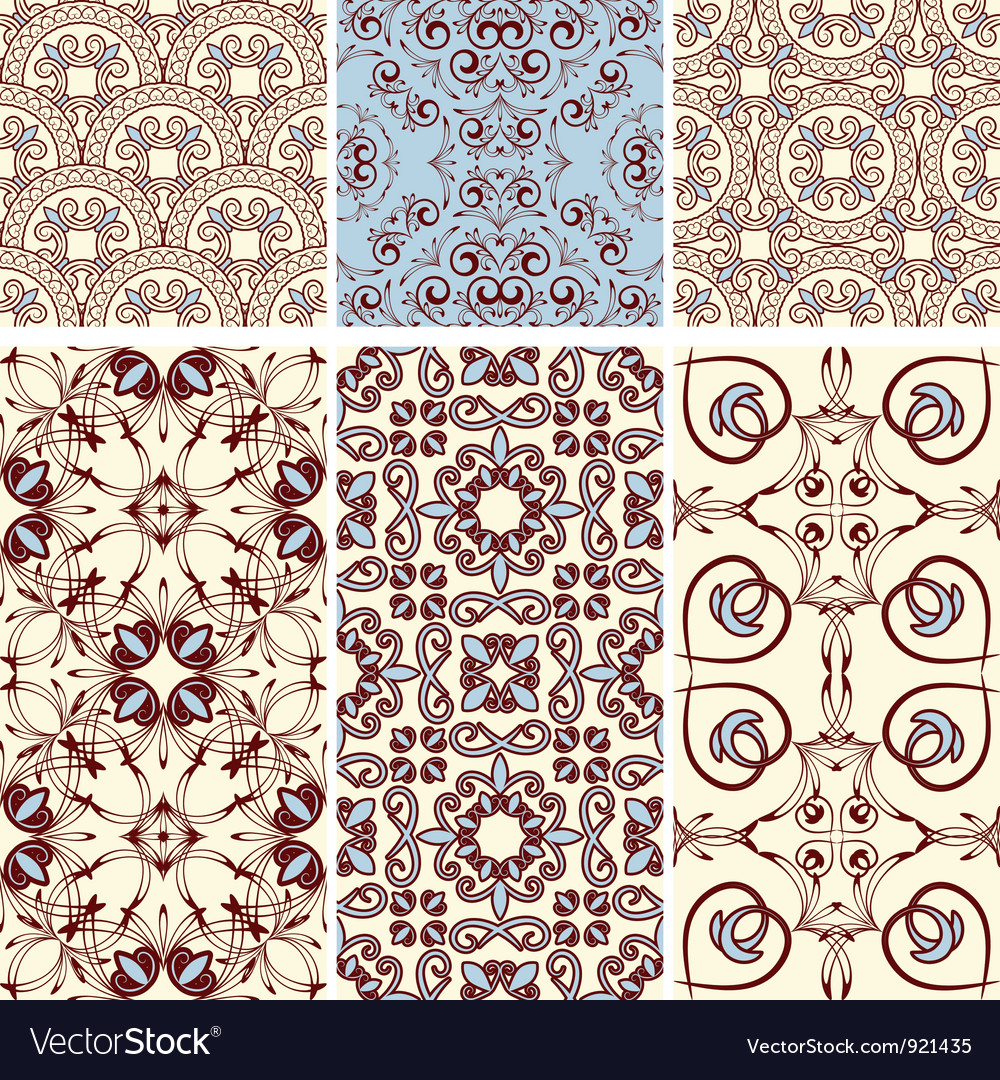 Six seamless patterns vector | Price: 1 Credit (USD $1)