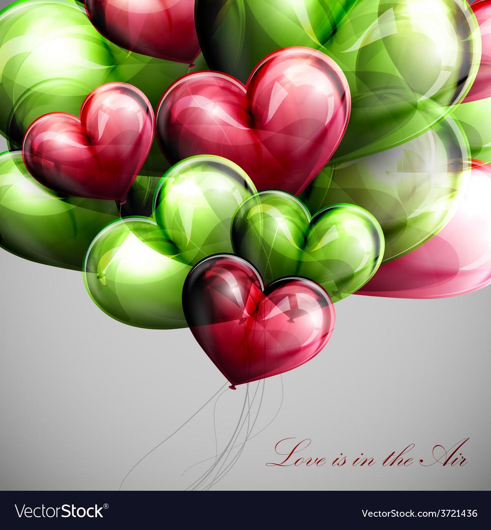 Bunch of multicolored balloon hearts vector | Price: 1 Credit (USD $1)