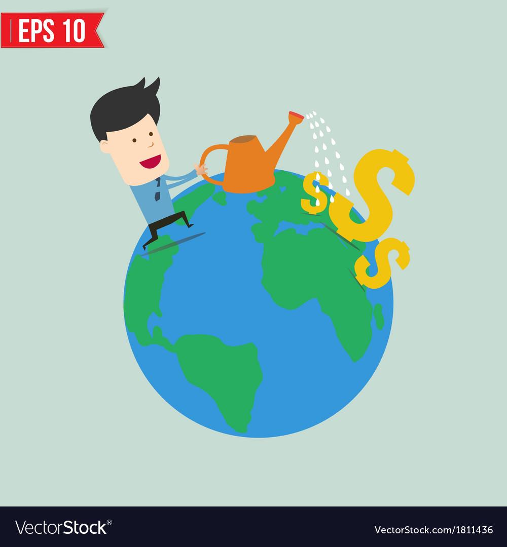 Businessman watering money - - eps10 vector | Price: 1 Credit (USD $1)