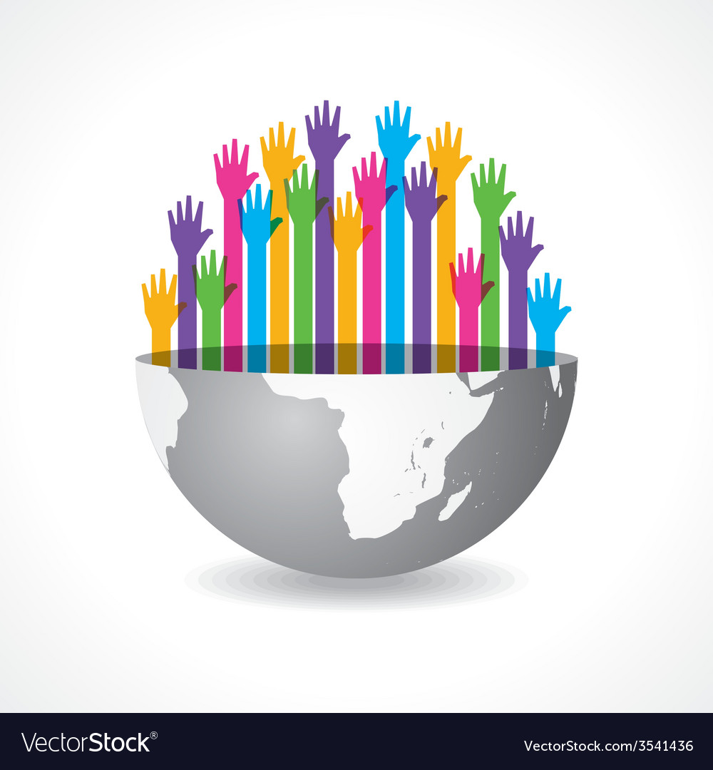 Colorful raised hand on the half earth symbol vector | Price: 1 Credit (USD $1)