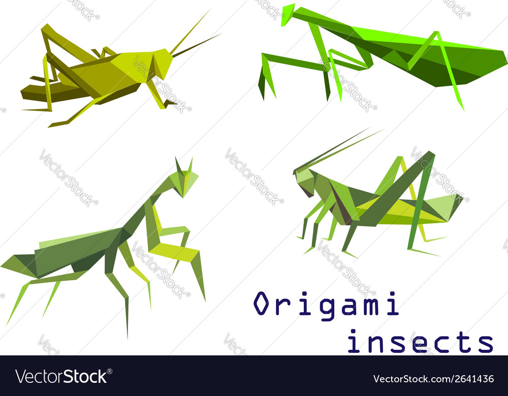 Green origami grasshoppers and mantis vector | Price: 1 Credit (USD $1)