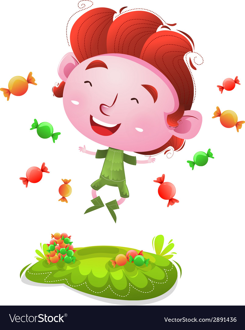 Happy kids with candies vector | Price: 1 Credit (USD $1)