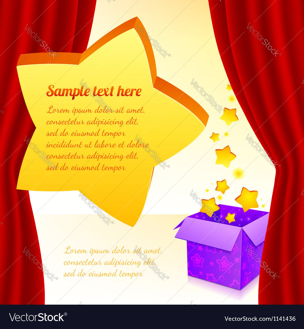 Magic box with stars behind red curtain vector | Price: 1 Credit (USD $1)