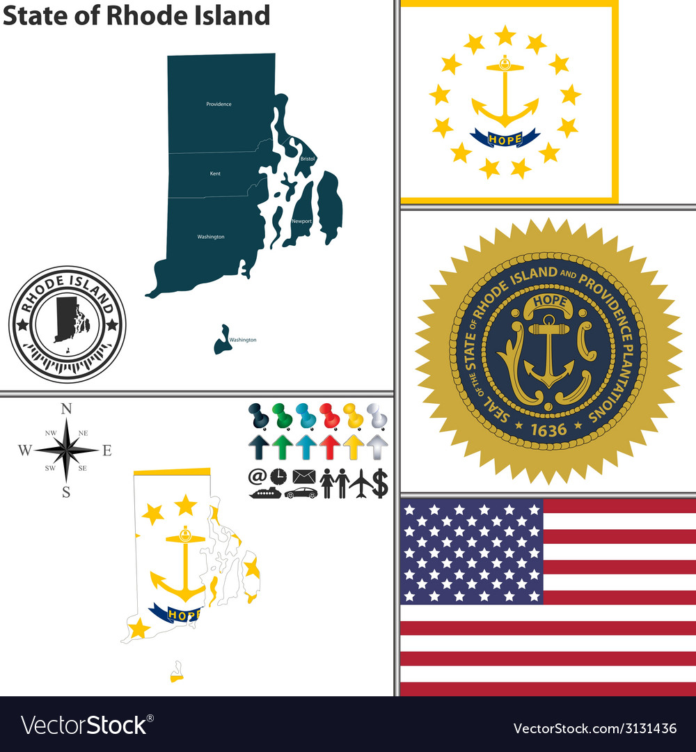Map of rhode island with seal vector | Price: 1 Credit (USD $1)