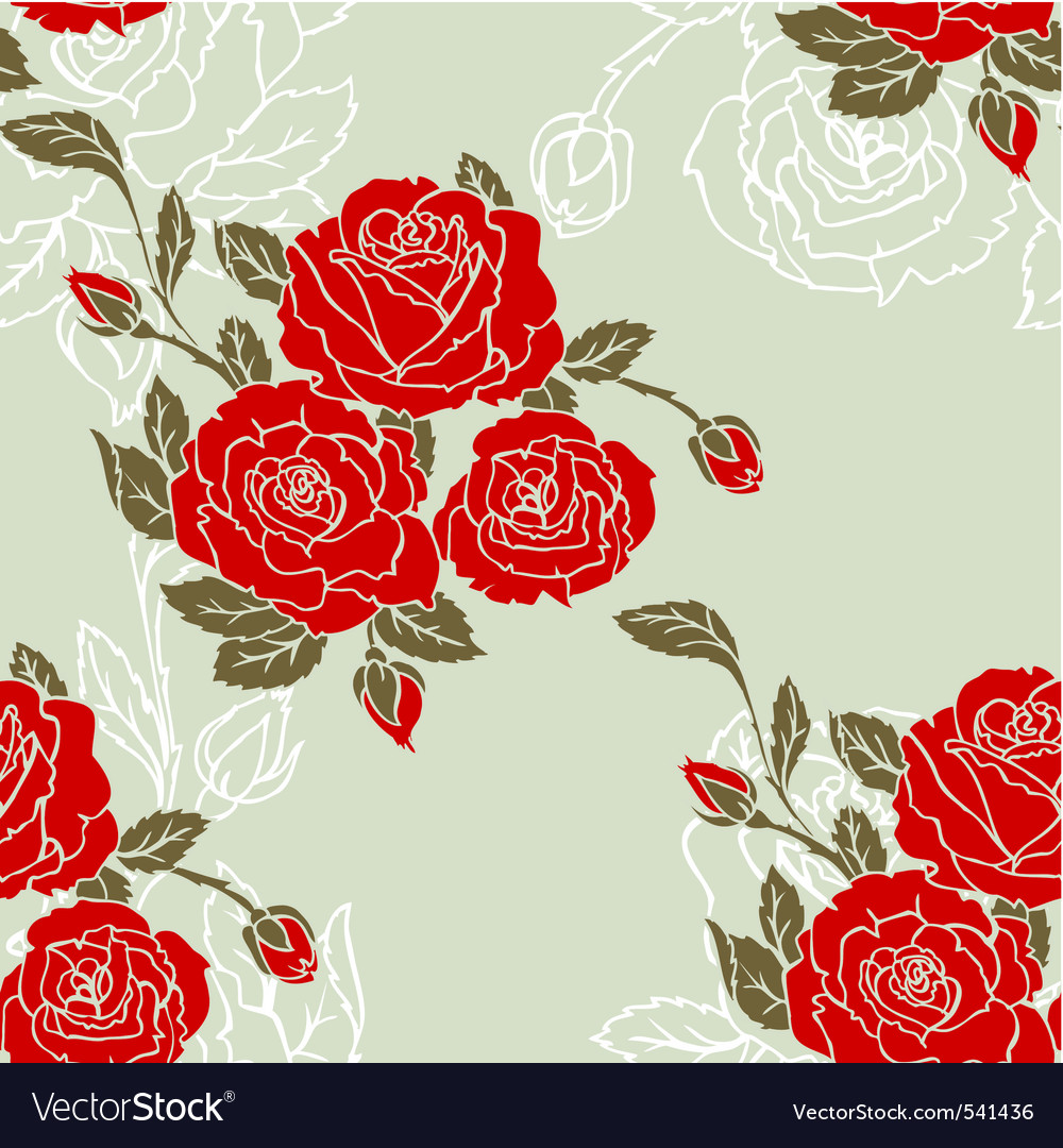 Roses seamless pattern red vector | Price: 1 Credit (USD $1)