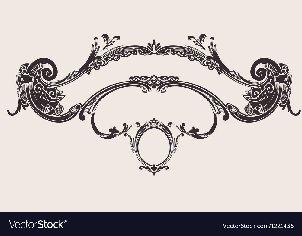 Royal vintage curves banner vector | Price: 1 Credit (USD $1)