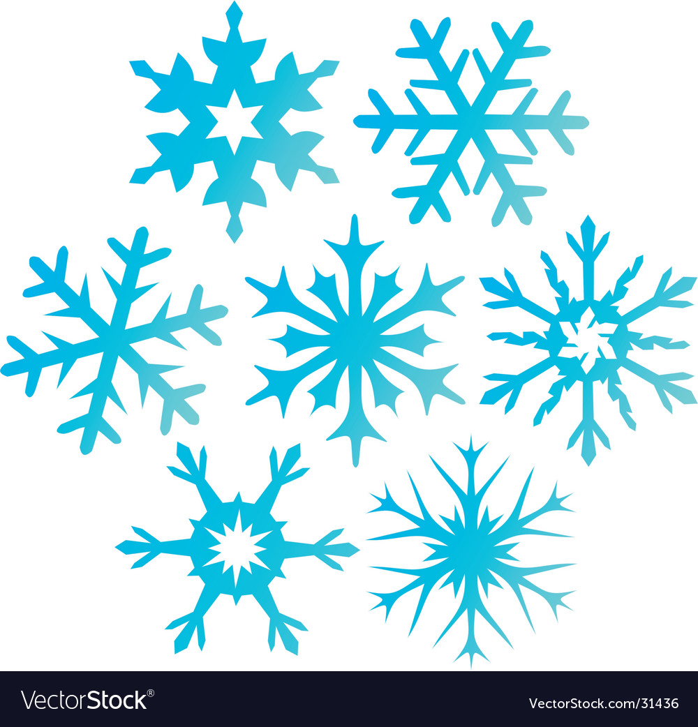 Seven blue snowflakes illustration vector | Price: 1 Credit (USD $1)