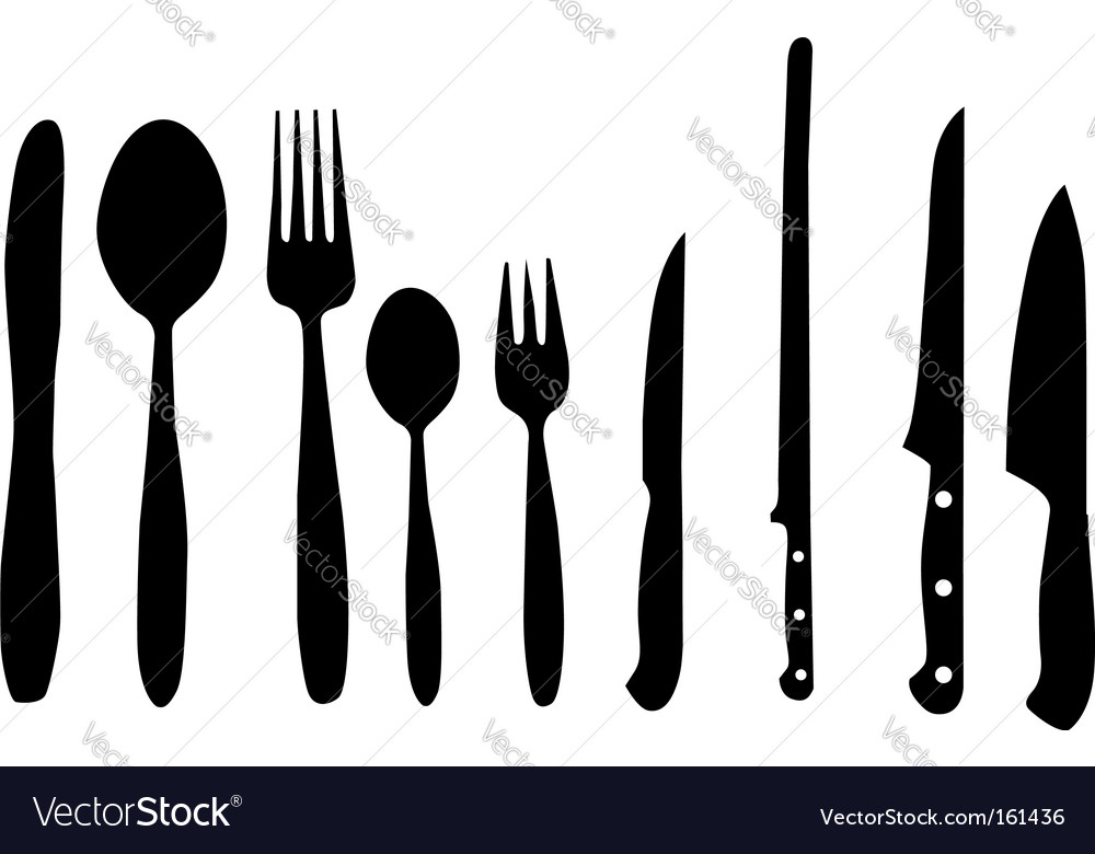 Spoon knife and fork vector