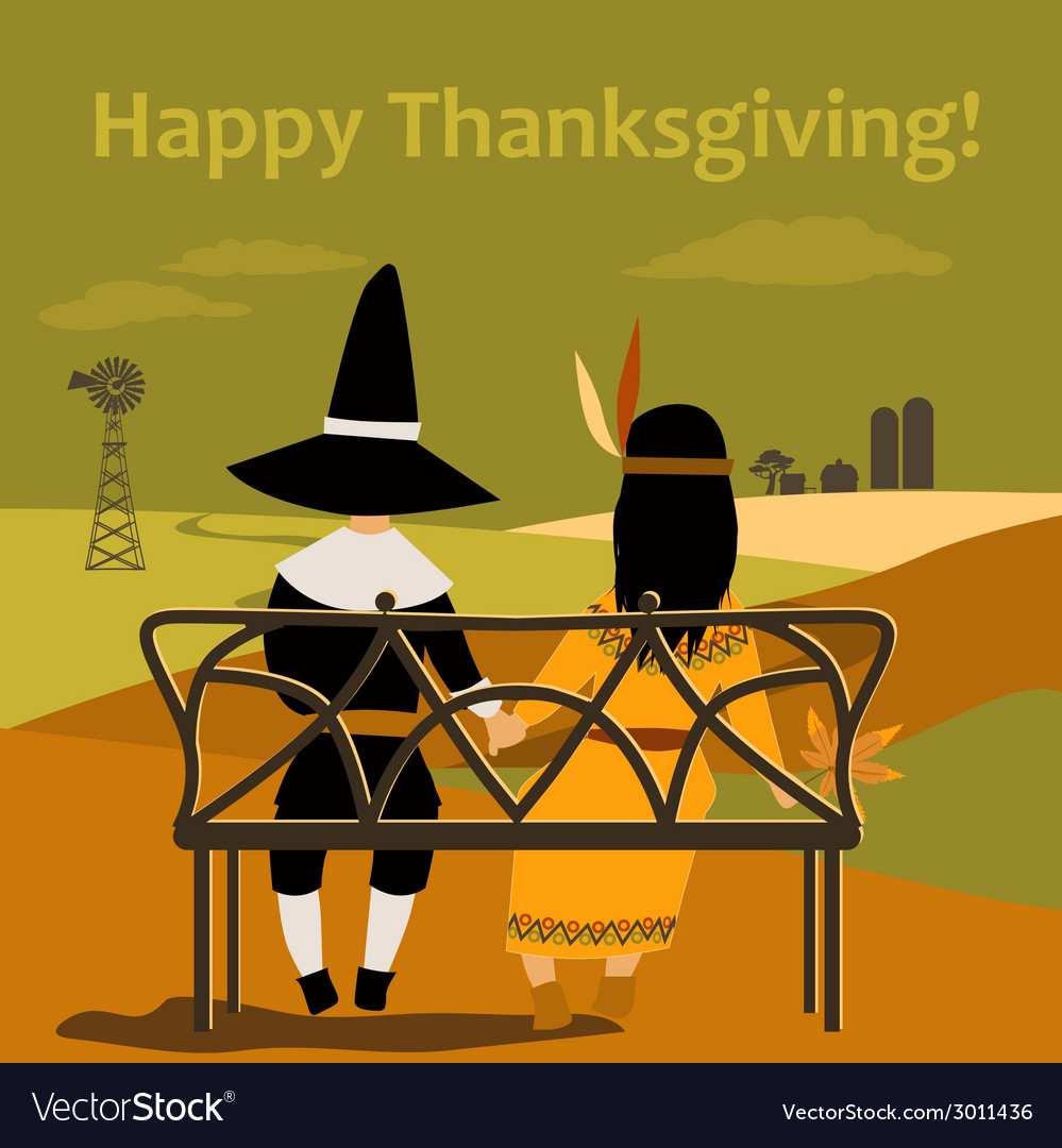 Thanksgiving card with dressed up kids vector | Price: 1 Credit (USD $1)