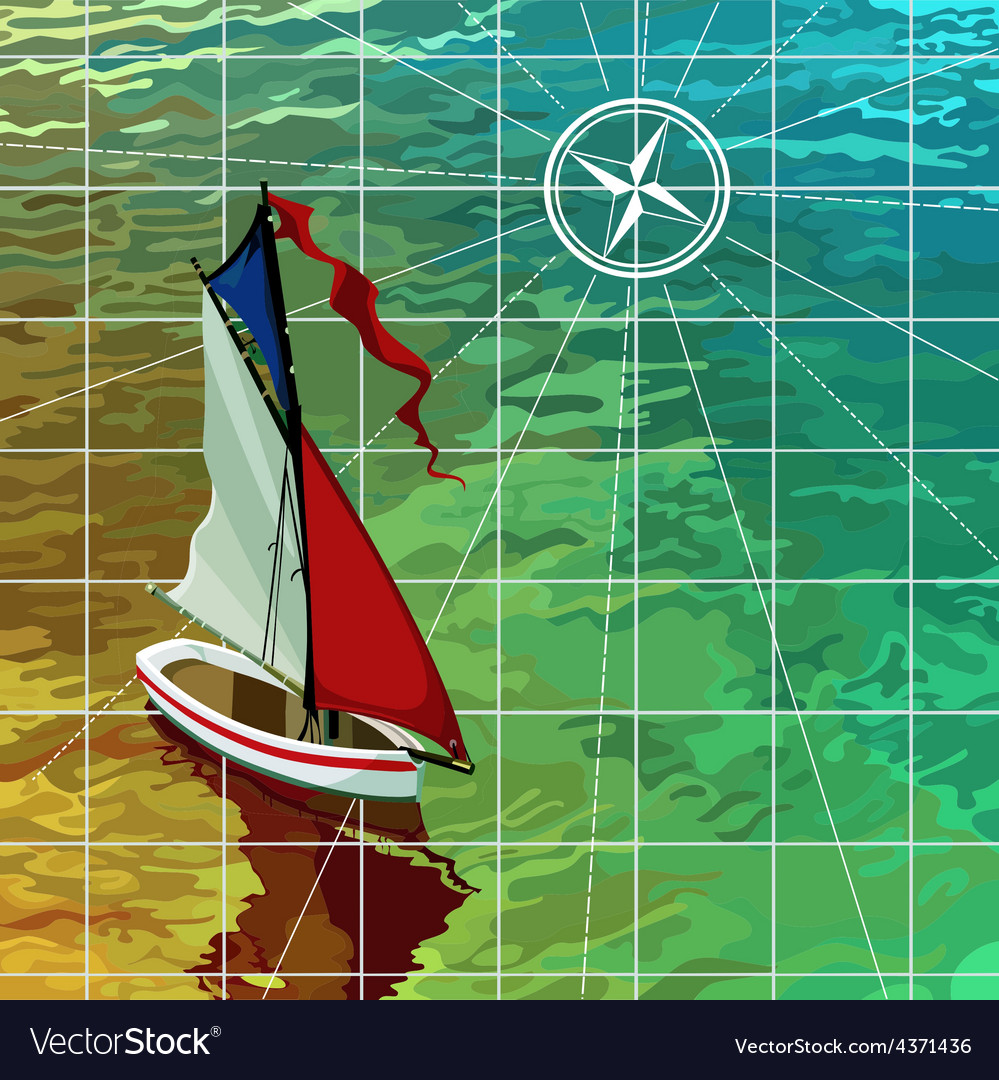 Yacht sails on the sea the top view on the map vector | Price: 3 Credit (USD $3)