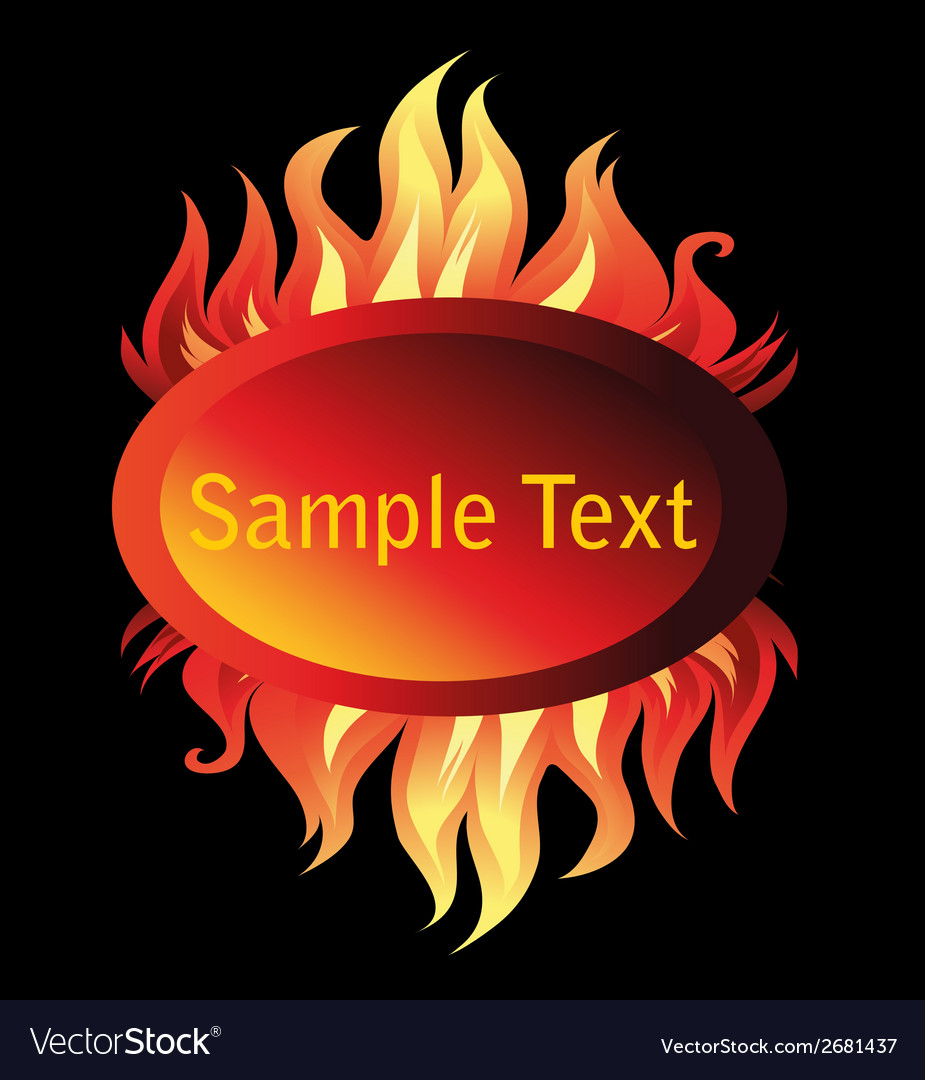 Banner fire flame on a black background vector | Price: 1 Credit (USD $1)