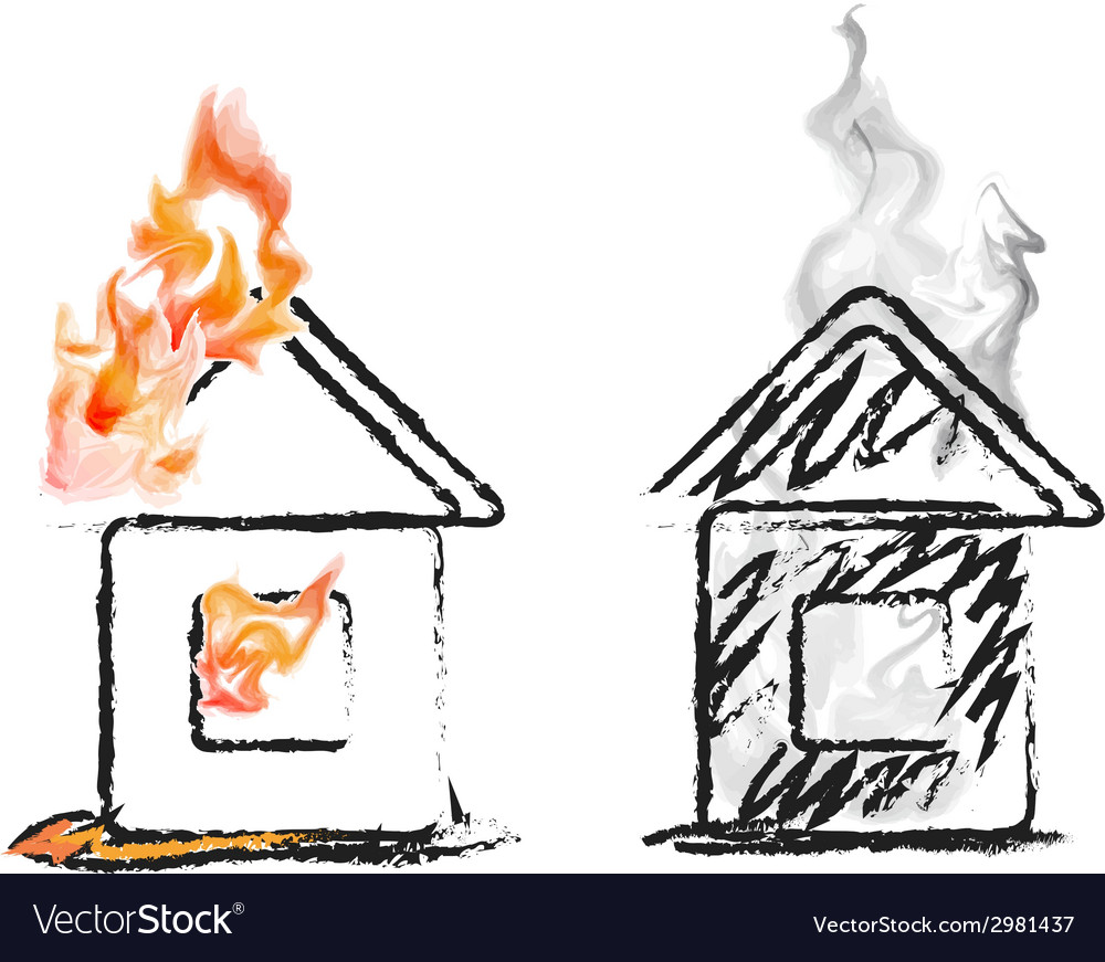 Burning house vector | Price: 1 Credit (USD $1)