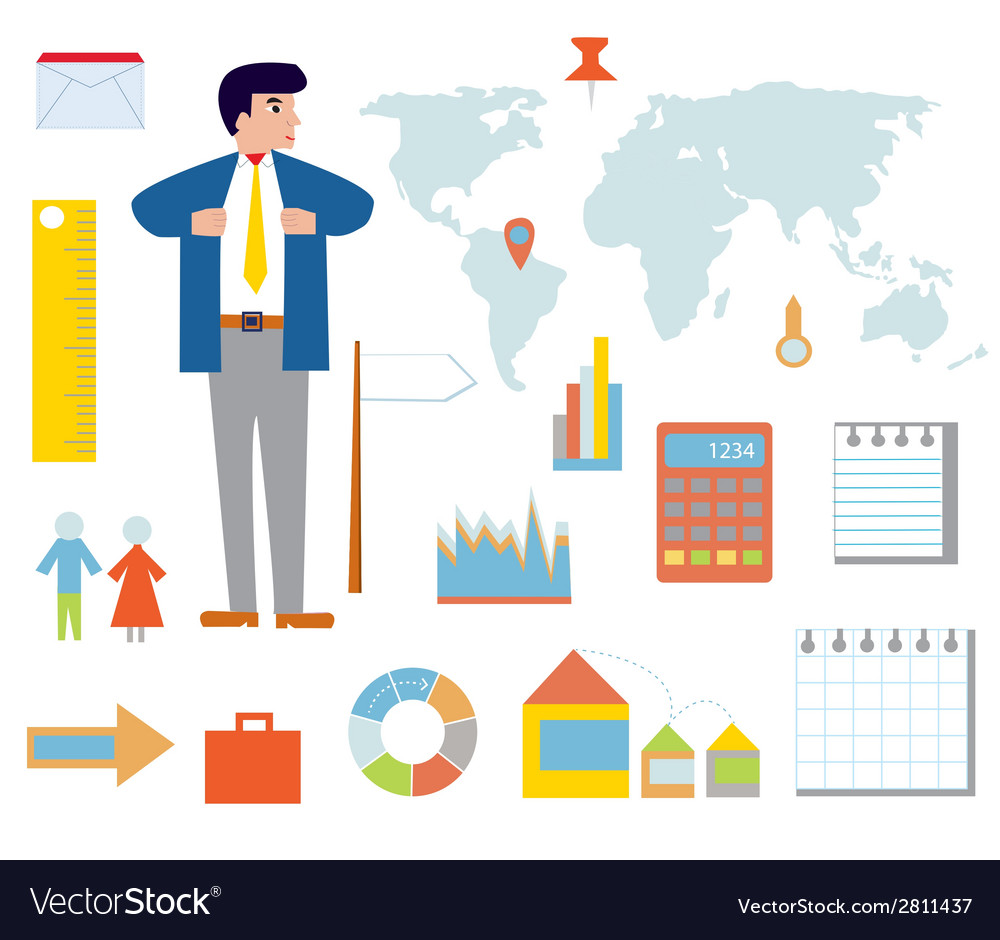 Business infographic set with icons vector | Price: 1 Credit (USD $1)