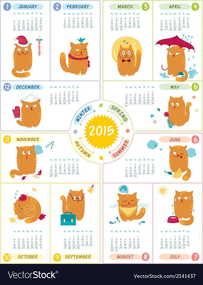 Calendar 2015 with cute cats vector | Price: 1 Credit (USD $1)