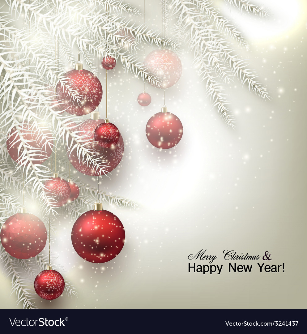 Christmas background with balls red xmas baubles vector | Price: 3 Credit (USD $3)