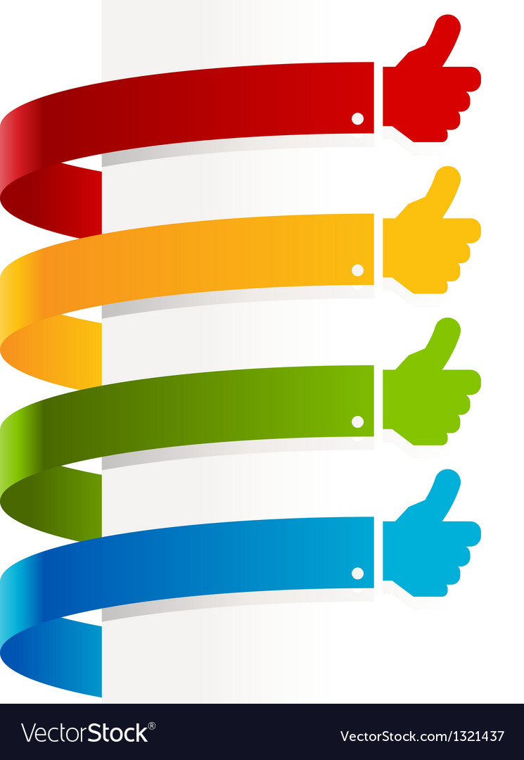 Colorful thumbs up banners vector | Price: 1 Credit (USD $1)