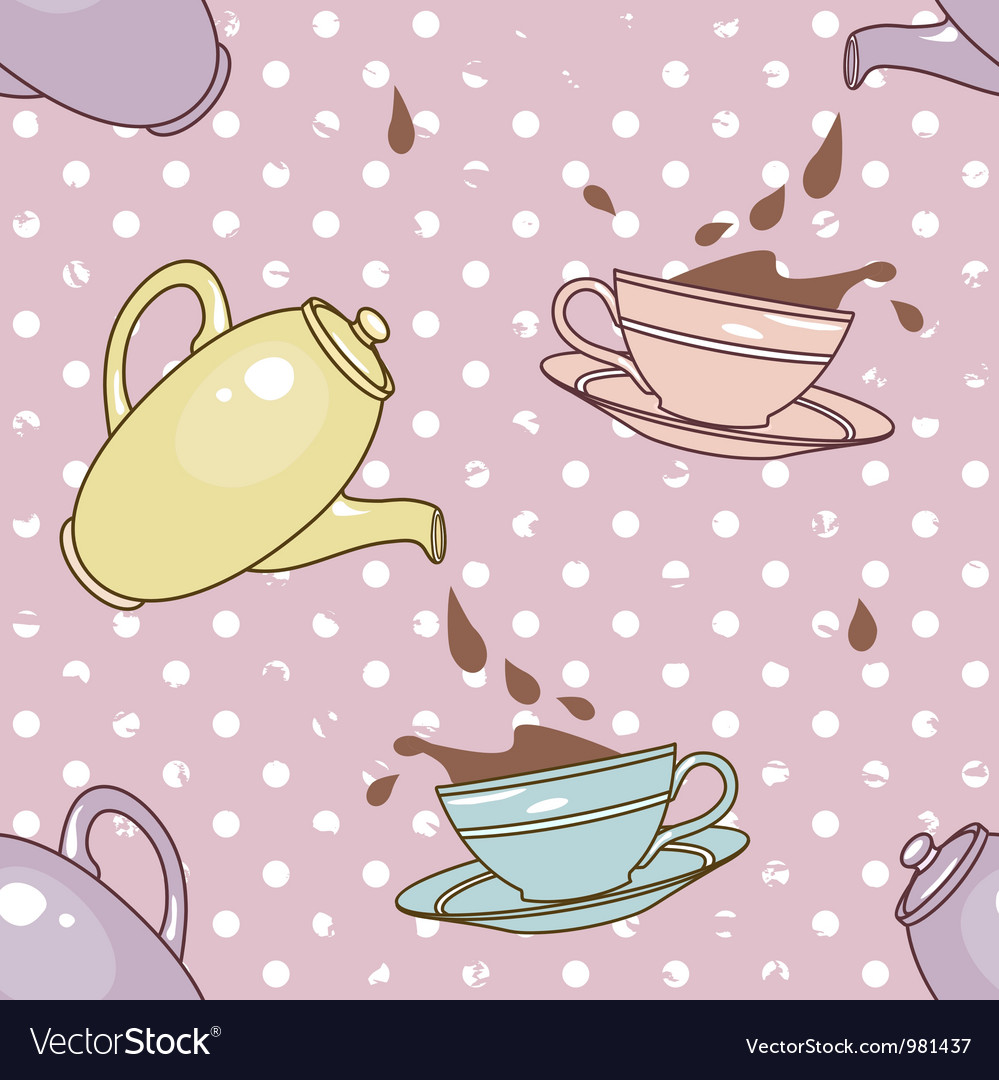Cups and splashes pattern vector | Price: 1 Credit (USD $1)