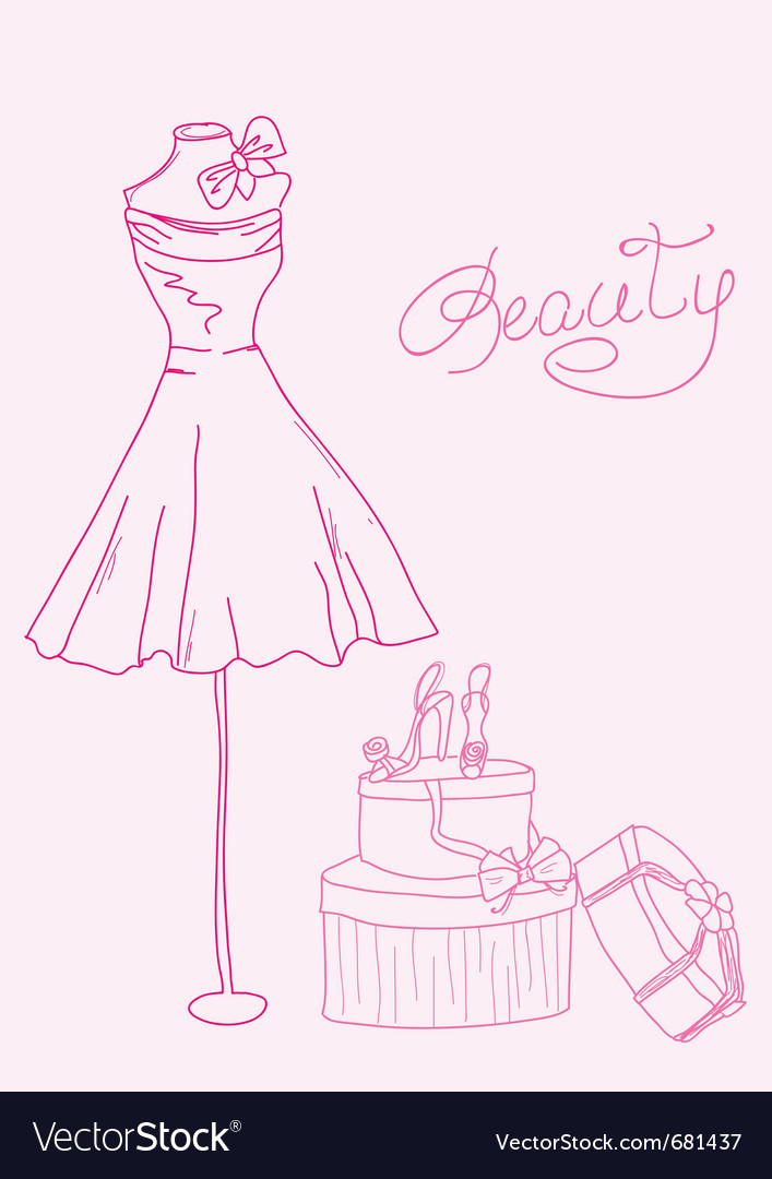 Fashion dress doodles vector | Price: 1 Credit (USD $1)