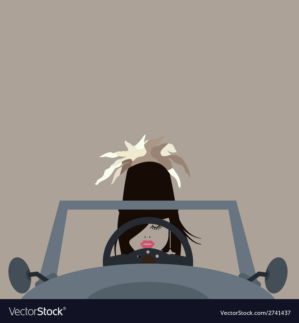 Girl at the wheel vector | Price: 1 Credit (USD $1)