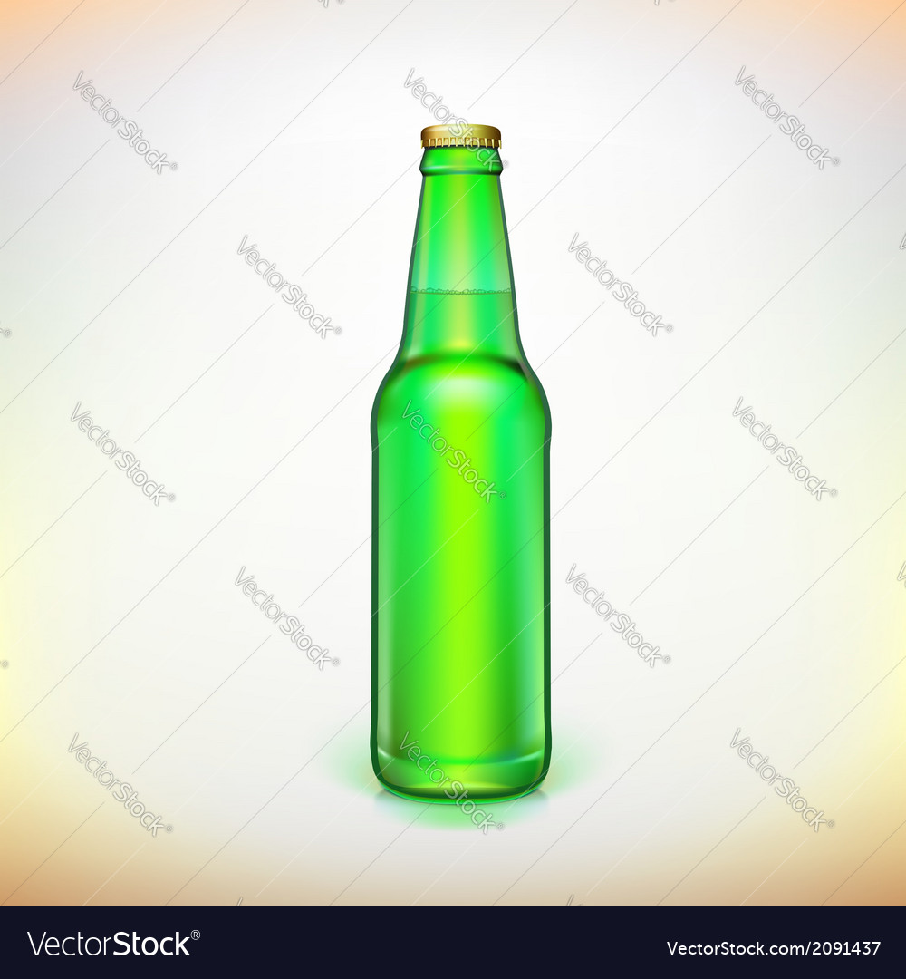 Glass beer green bottle product packing vector | Price: 1 Credit (USD $1)