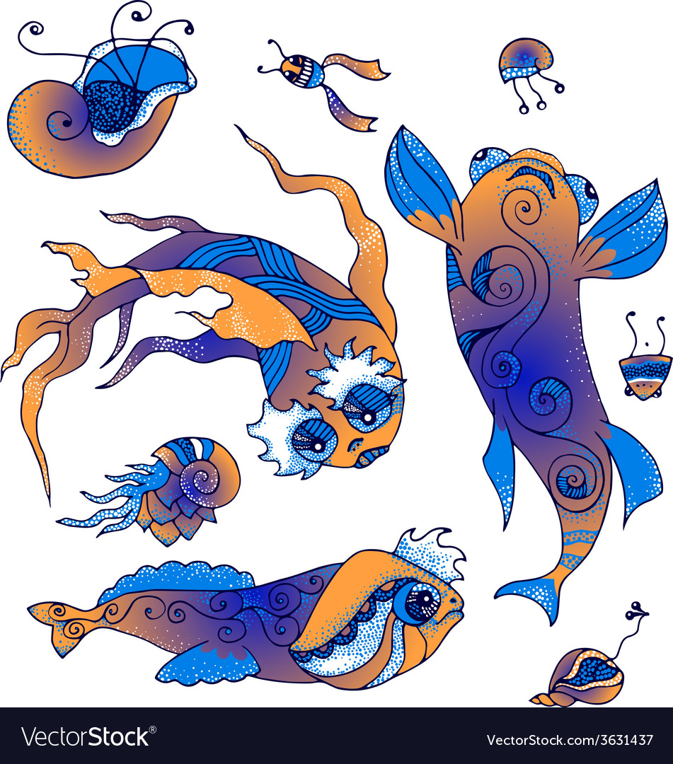 Marine life collection vector | Price: 1 Credit (USD $1)