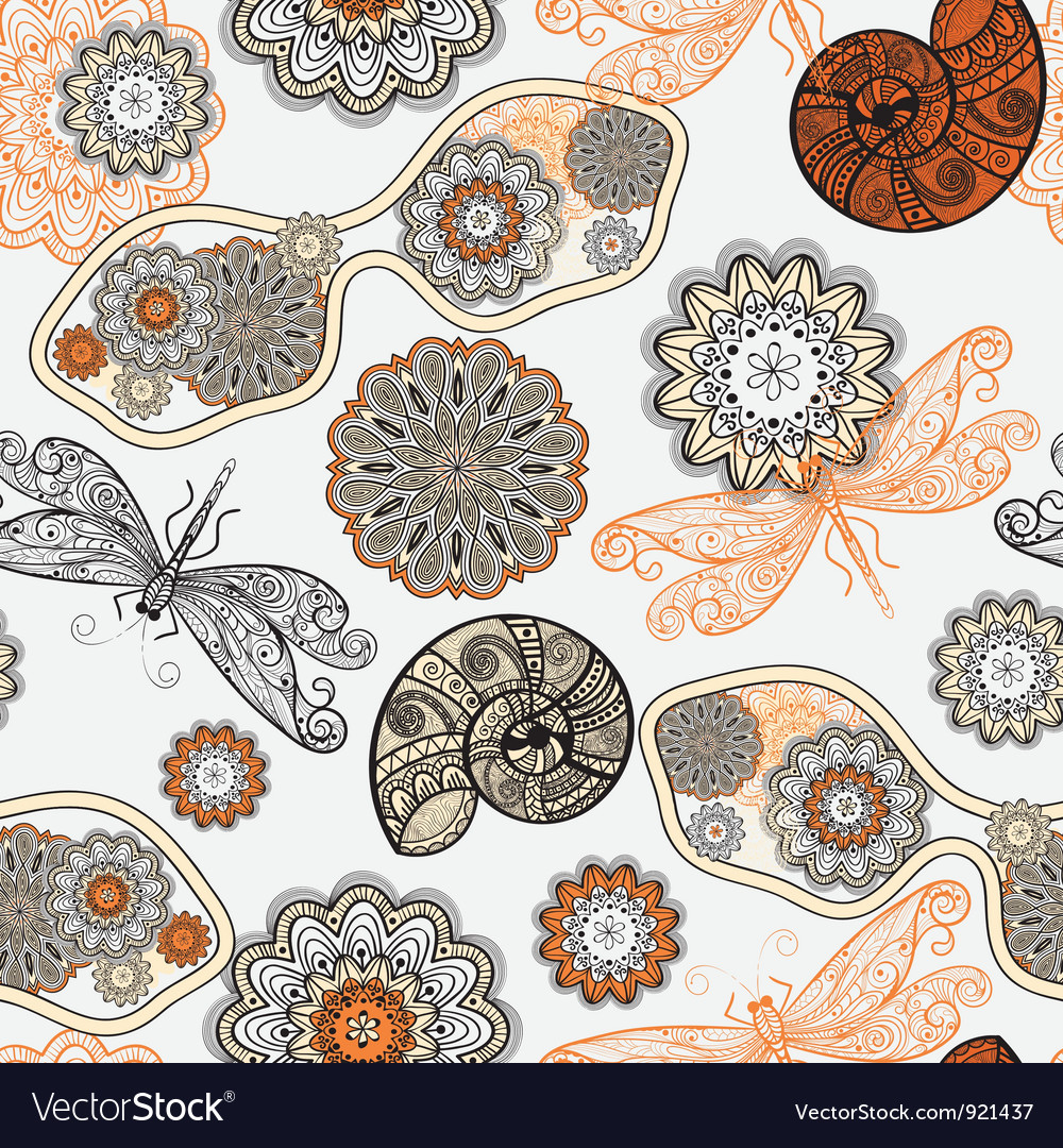 Seamless pattern with sunglasses flowers shells vector | Price: 1 Credit (USD $1)