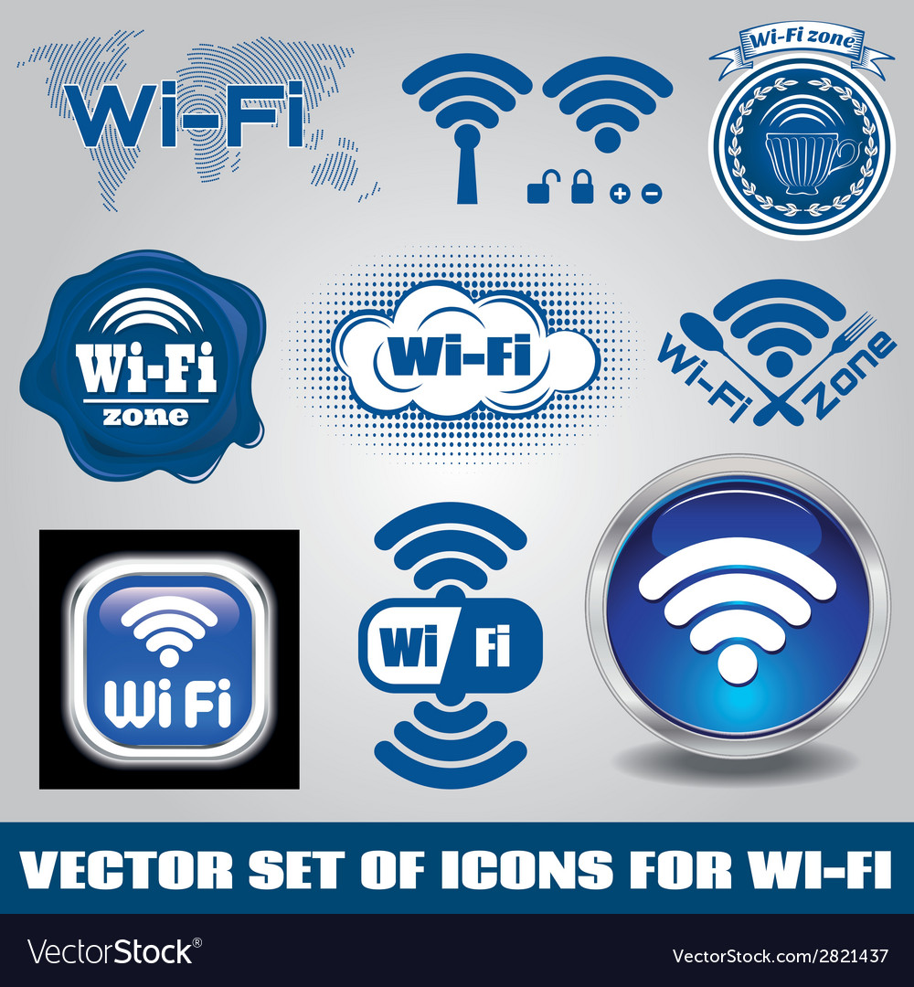 Set of different icons for technology wifi vector   Price: 1 Credit (USD $1)