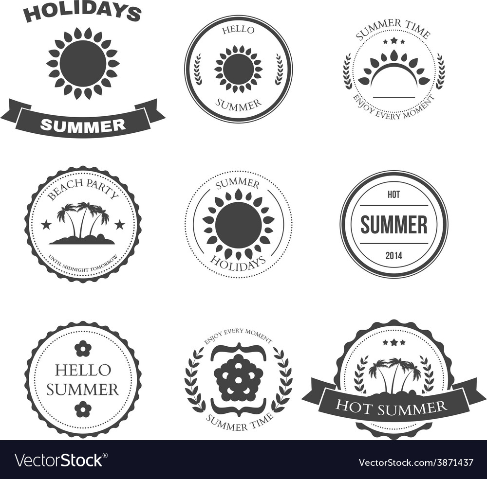 Summer design elements and typography design vector | Price: 1 Credit (USD $1)