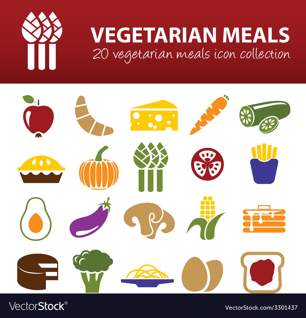 Vegetarian meals icons vector | Price: 1 Credit (USD $1)
