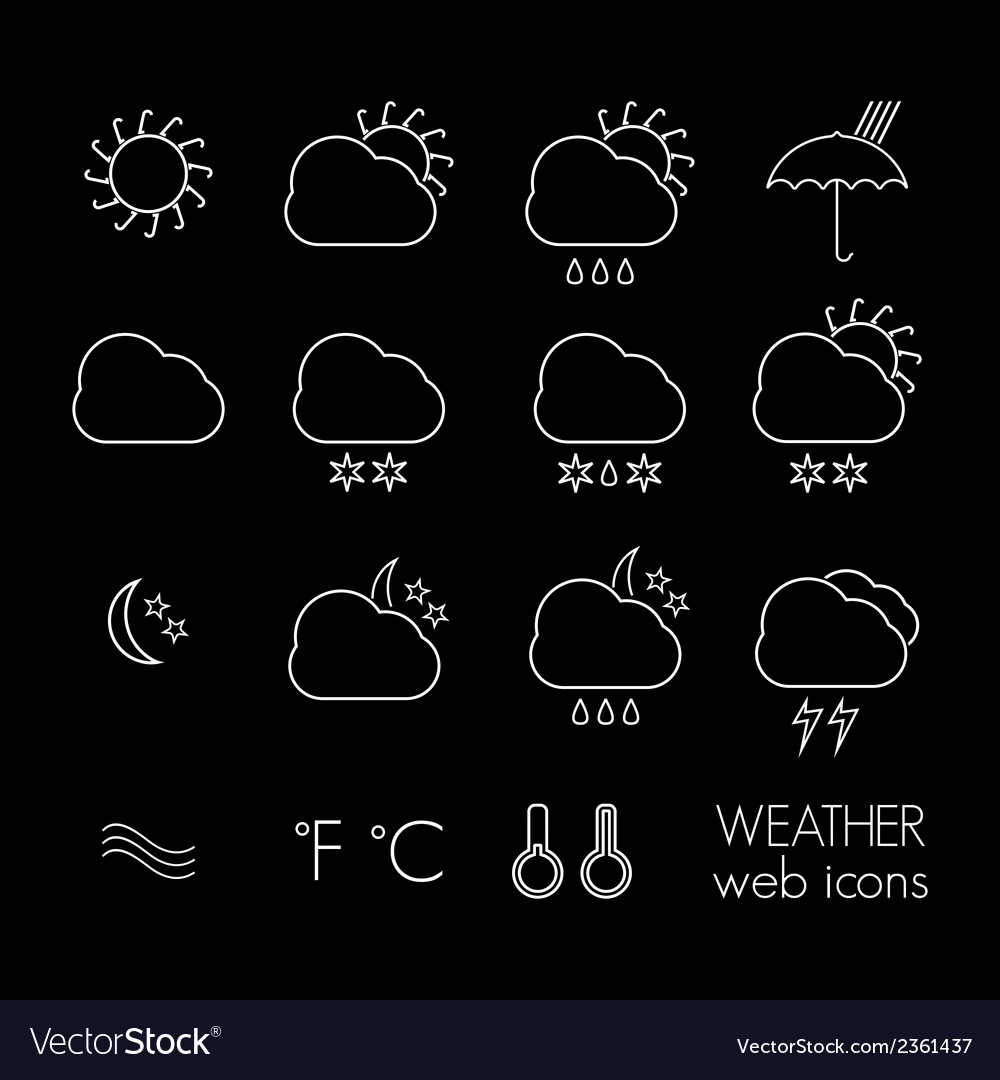 Weather icons thin2 vector | Price: 1 Credit (USD $1)