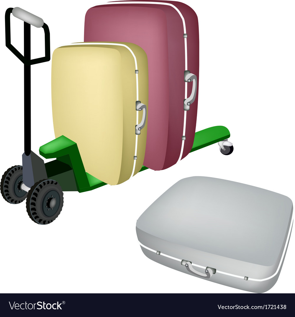 A green pallet truck loading travel suitcases vector | Price: 1 Credit (USD $1)