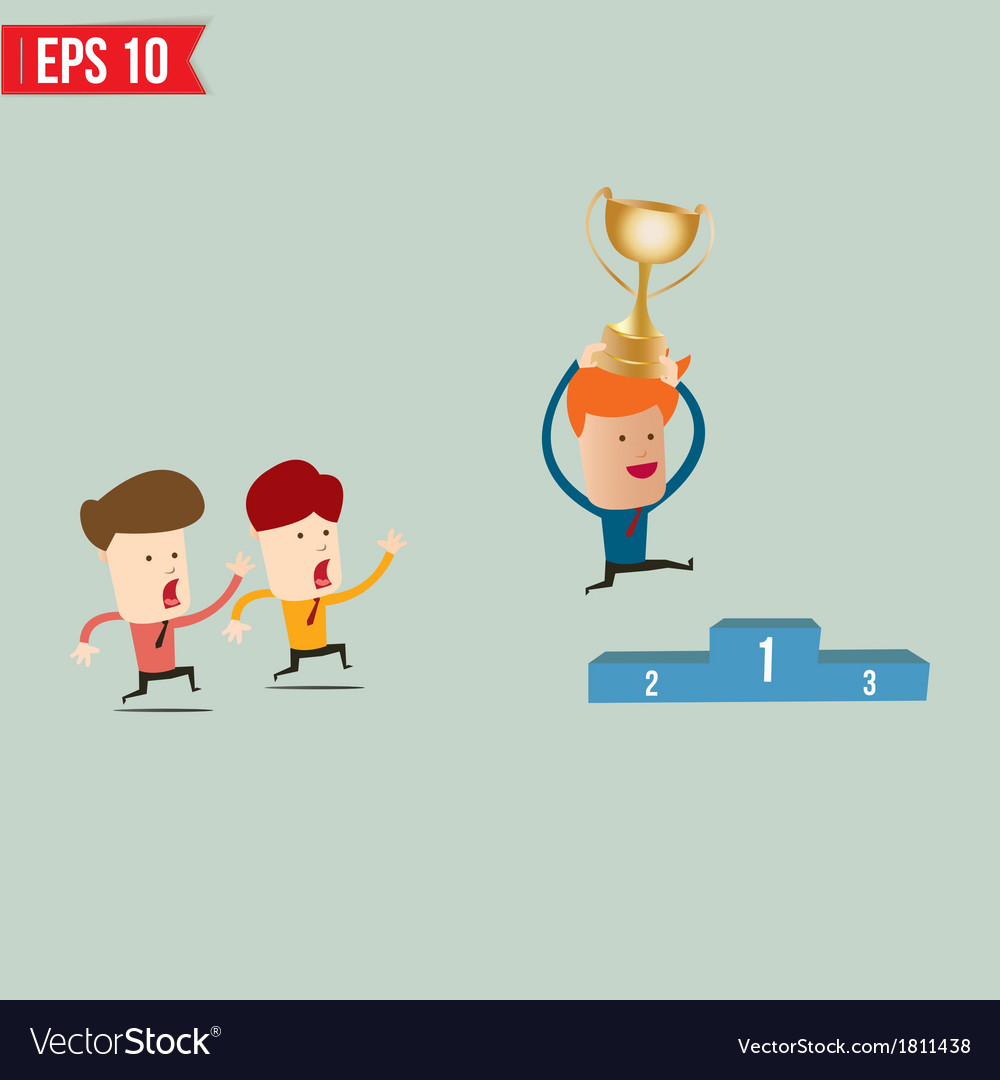 Cartoon businessman jump over winner podium - vector | Price: 1 Credit (USD $1)