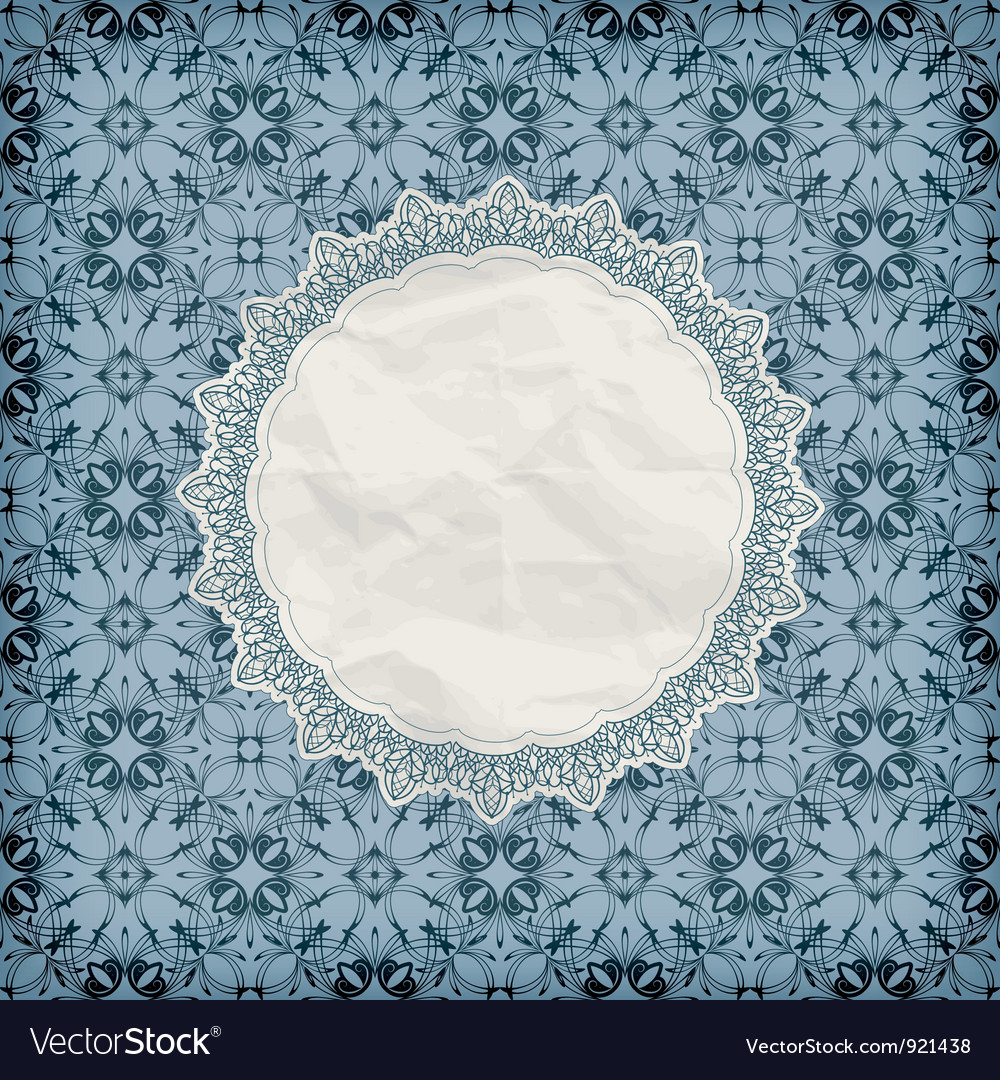 Retro lacy napkin on seamless blue pattern vector | Price: 1 Credit (USD $1)