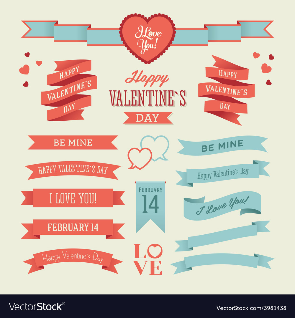 The set of valentines day ribbons vector | Price: 1 Credit (USD $1)
