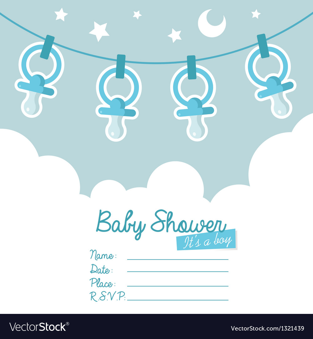 Blue baby shower invitation with pacifiers vector | Price: 1 Credit (USD $1)