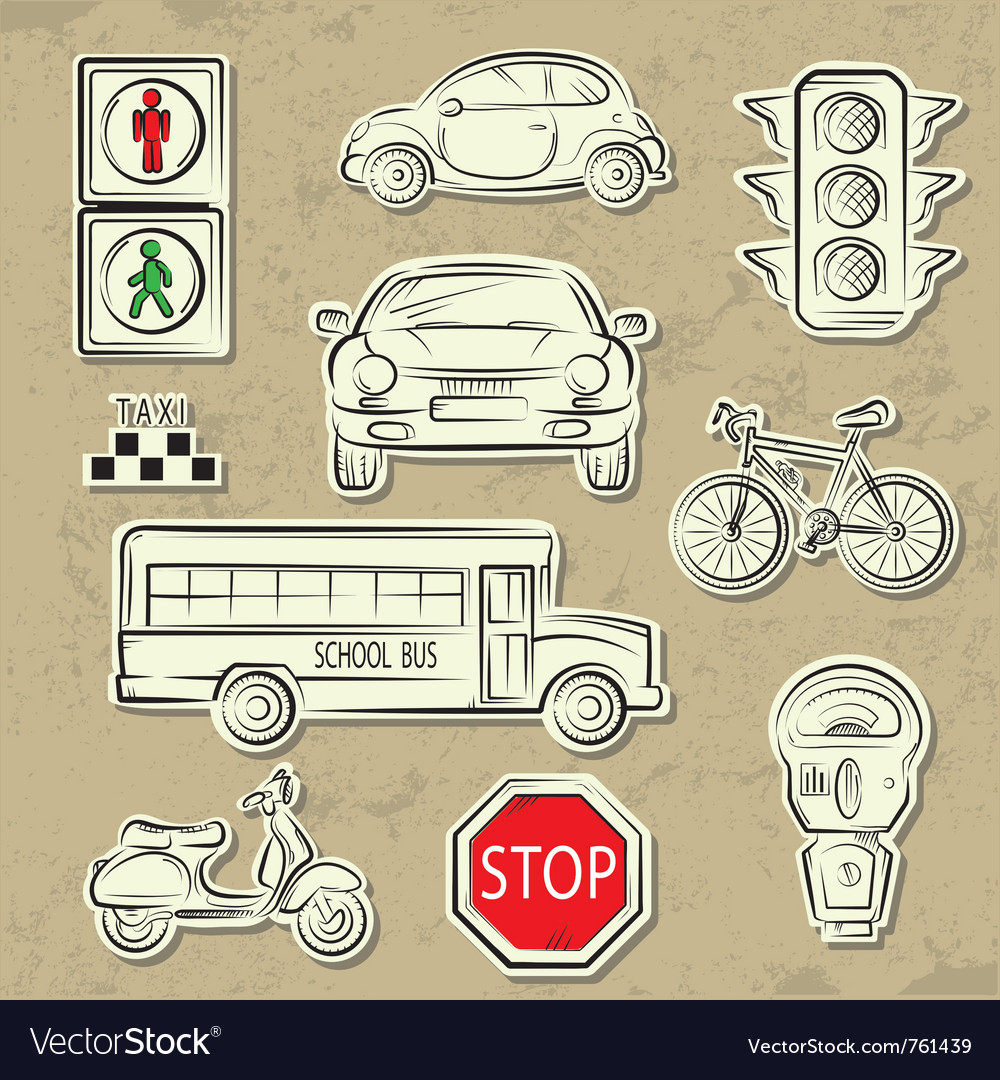 City traffic icons vector | Price: 3 Credit (USD $3)