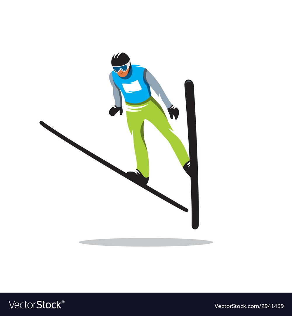 Jumping skier sign vector | Price: 1 Credit (USD $1)