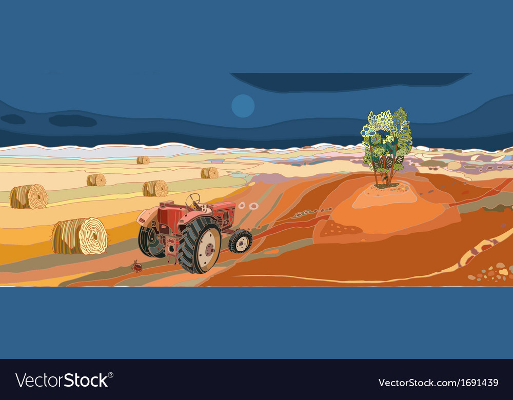 Landscape with tractor vector | Price: 1 Credit (USD $1)
