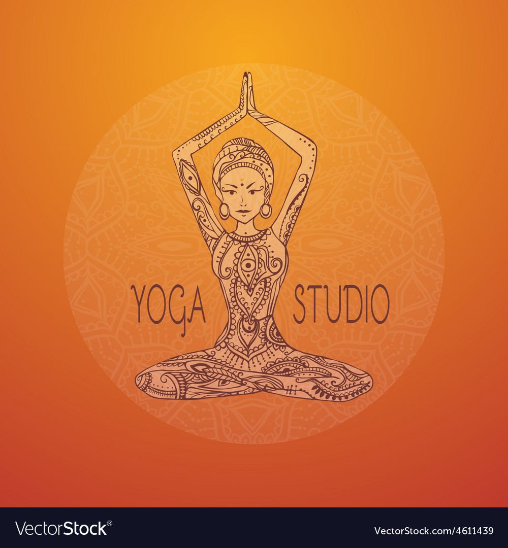 Ornament beautiful card with yoga vector | Price: 1 Credit (USD $1)