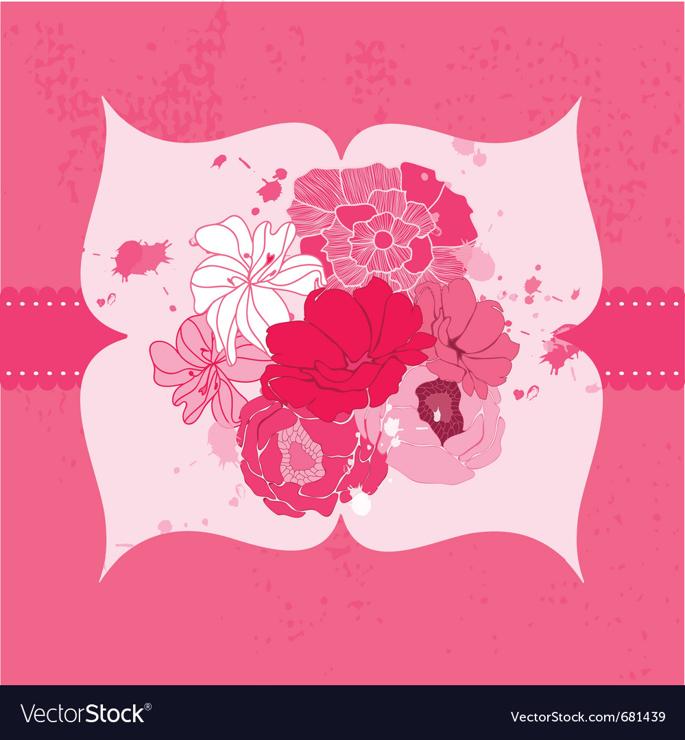 Romantic flower card vector | Price: 1 Credit (USD $1)