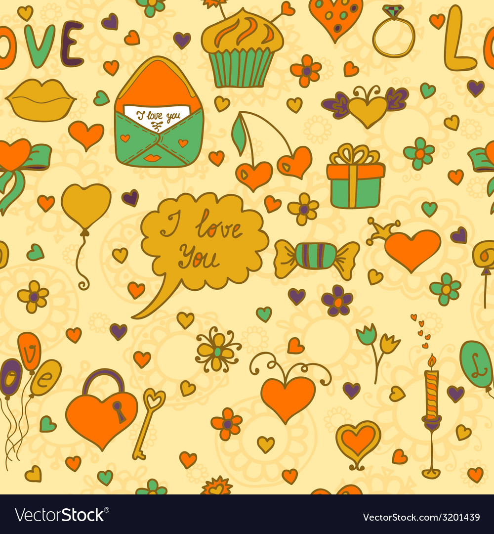 Stylish romantic seamless pattern in on a beige vector | Price: 1 Credit (USD $1)